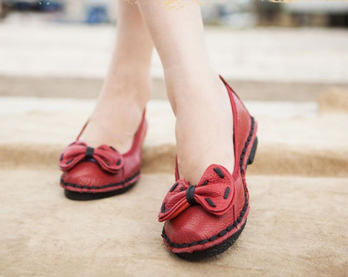 Handmade Shoes,Summer Shoes for Women, Ballet Shoes, Flat Shoes with Bowknot, Casual Shoes,Very Soft Shoes
