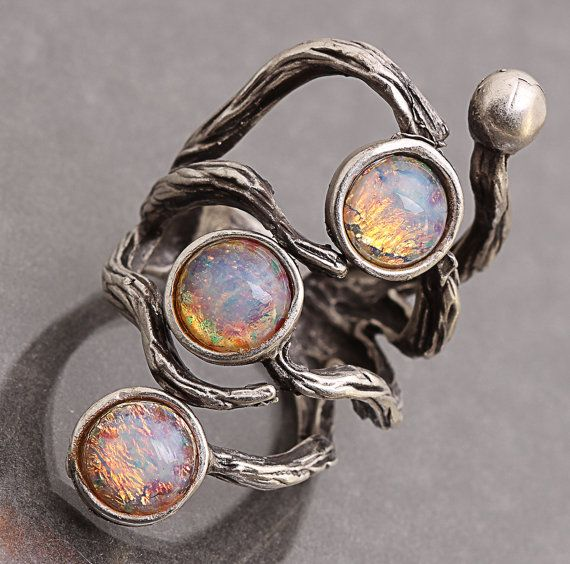 Opal Ring Branch Ring Silver Branch Ring by DesignsBloom on Etsy