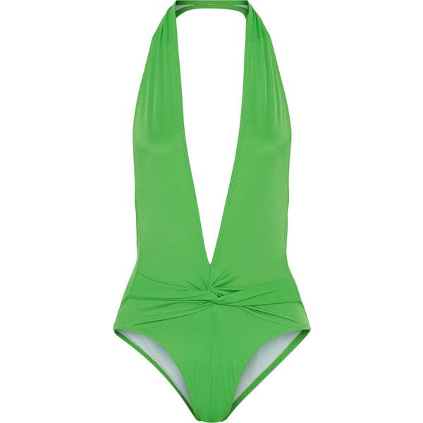 Norma Kamali Twister halterneck swimsuit ($145) ❤ liked on Polyvore featuring swimwear, one-piece swimsuits, leaf green, halter top, halter swimsuit, halter bathing suit, swim suits and open-back one-piece swimsuits