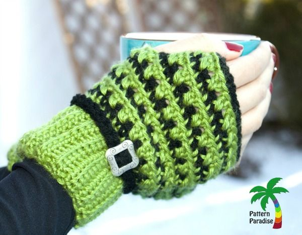 free crochet pattern for fingerless gloves part of the X Stitch Challenge