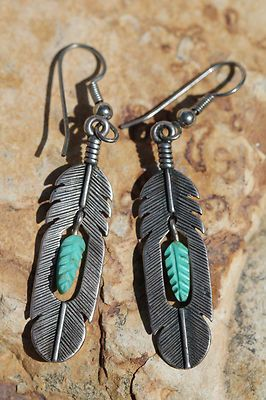 Vintage Southwestern Tribal Sterling Silver Turquoise Feather Pierced Earrings | eBay