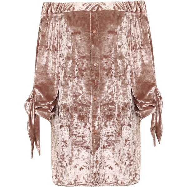 WearAll Plus Size Crushed Velvet Bardot Top ($42) ❤ liked on Polyvore featuring tops, pink, going out tops, off shoulder tops, womens plus tops, bell sleeve tops and pink top