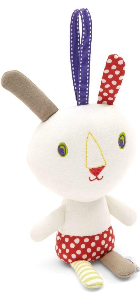 Stoer konijntje Splash om lekker mee te knuffel. Het konijntje maakt een zacht rinkelend geluid en kan worden opgehangen dmv klittenband koordje.