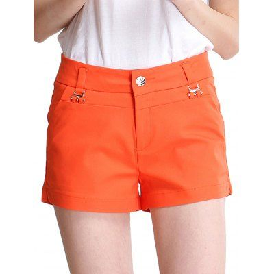 Middle Waist Pure Color Oversized Women Orange Shorts