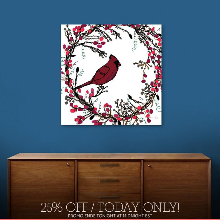 Discover «Winter Wreath and Cardinal», Limited Edition Canvas Print by Deb Quigg - From $75 - Curioos