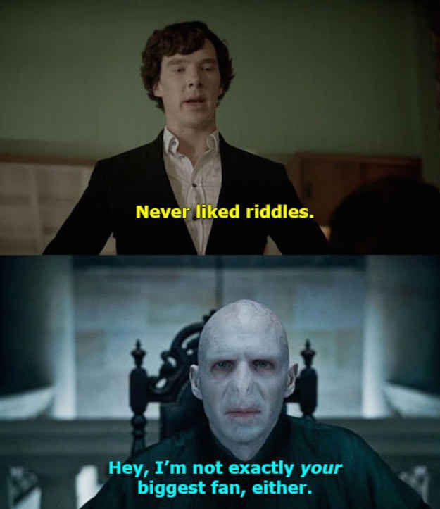 Harry Potter and The Reichenbach Fall   21 Fandom Mashups That Are Impossibly Perfect Hahaha! These are so funny!