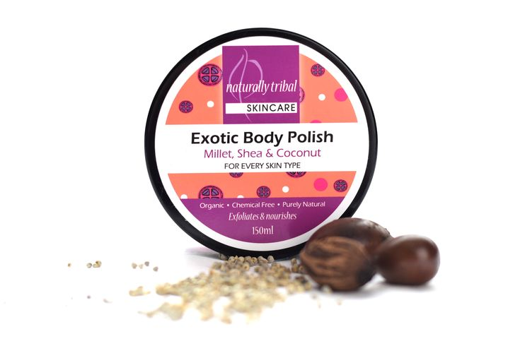 NATURALLY TRIBAL'S BODY POLISH is ideal for firming and repairing damaged and dehydrated skin. Use of this product is perfect prior to spa treatments like body wraps or massages as the Shea butter base and millet exfoliant gently removes dead skin for a fresh, smooth, soft and moisturised skin finish.....