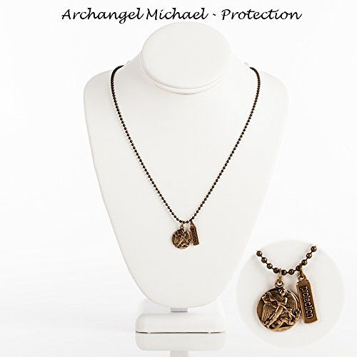 """Women or Men's Archangel Michael, Patron Saint for All in Need of Protection. Bronze Finish Beadball Necklace. Premium Pewter Saint Medal with Shiny Bronze Finish and It's Coordinating Virtue Tag Hang From a 24"""" Bronze Beadball Chain. Each Medal Is Hand-cast in the Usa. Every Saint Medal Comes on a Card That Tells the Story of the Saint, the Virtue They Were Known for and Shares Their Prayer on the Back of the Card . Catholic Saint Michael the Archangel Patron Saint of Battle, Emt's…"""