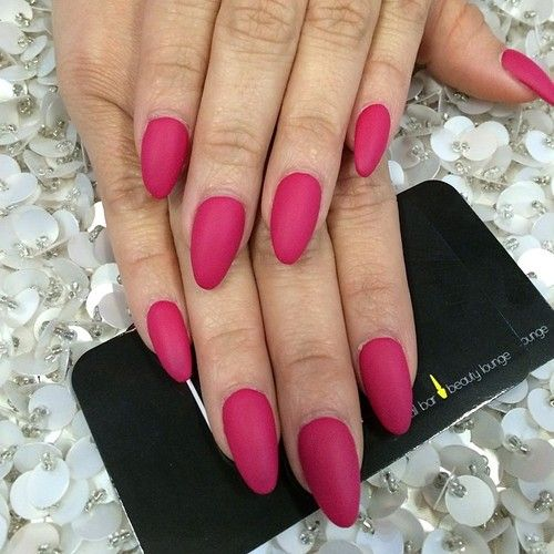 full set matte dark pink nails stiletto/rounded $40 done by #laquenailbar by laquenailbar http://ift.tt/1mbZrj8