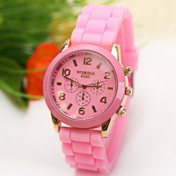 $3.90 WoMaGe Quartz Watch 6 Numbers and Rectangles Indicate Rubber Watch Band for Women - Pink