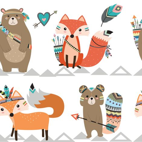 Tribal Woodland Creatures fabric by rocky_rocks_designs on Spoonflower - custom fabric