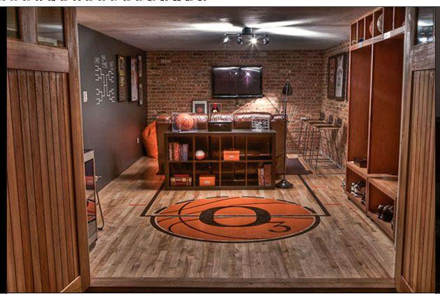 Man Cave Carpet Ideas : Basketball themed man cave beautiful caves pinterest