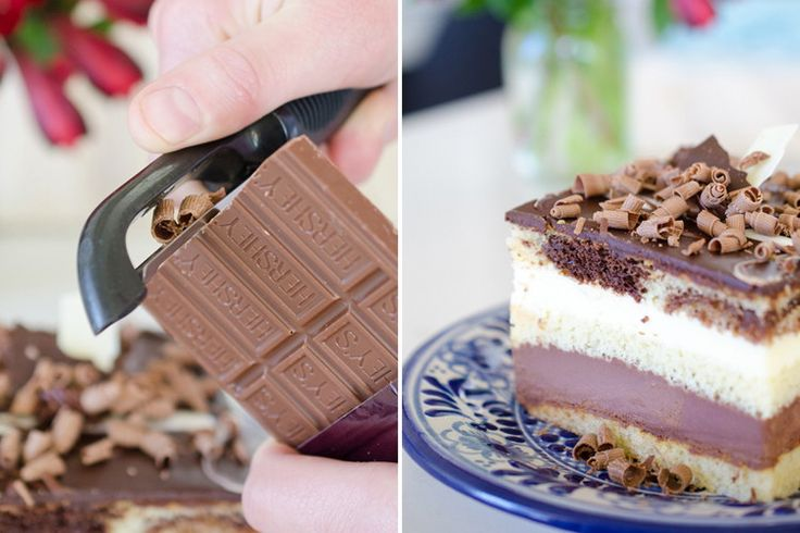Use a potato peeler to make chocolate peels for garnish.