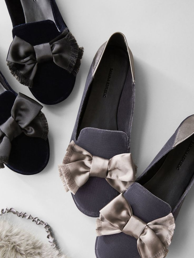 A gifting WIN = these Velvet Slippers with a Satin Bow. So soft, these Italian velvet smoking-style slippers with a luxurious satin bow are designed with a flexible back that folds down so you can wear them as slippers or slides.