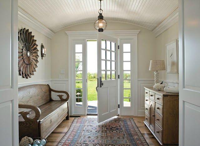 entry way...neutrals, sunburst mirror, bench, rug, ceiling, floors