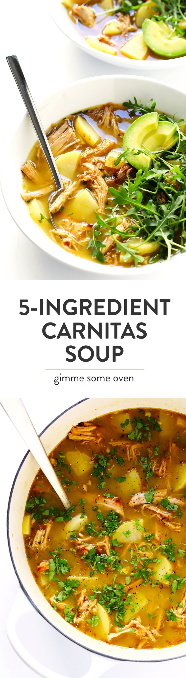 This 5-Ingredient Carnitas Soup is super-easy to make with leftover pork (or chicken) carnitas, potatoes, and salsa verde. I highly recommend loading it up with lots of toppings too, such as arugula, avocado, cilantro and jalapeño peppers. It's the perfect Mexican dinner that's easy to make on the stovetop, or in the Crock Pot (slow cooker) or Instant Pot (pressure cooker). And it's naturally gluten-free!   Gimme Some Oven