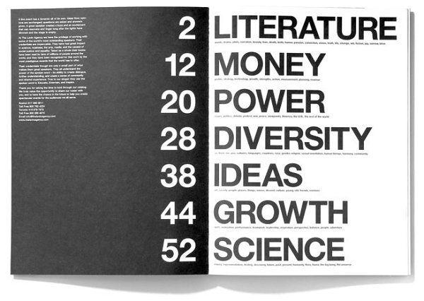 como apresentar um índice de forma criativa