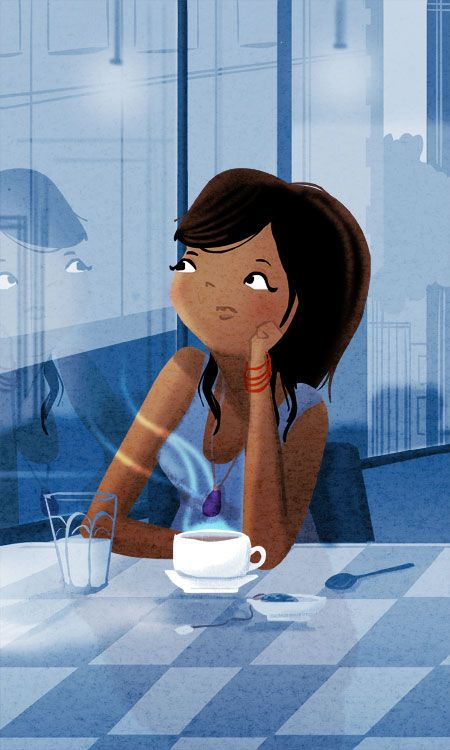 a cup of tea illustrated by Nidhi Chanani (I'm gonna pretend it's coffee).