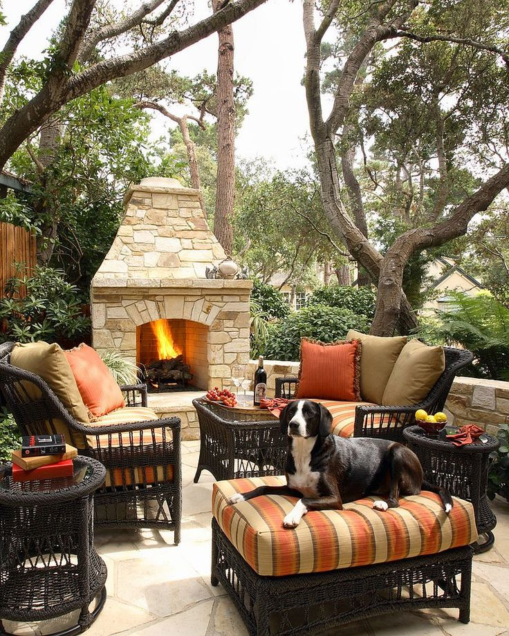 Sizzling Style: How to Decorate a Stylish Outdoor Hangout with a Fireplace #interiorsdesign