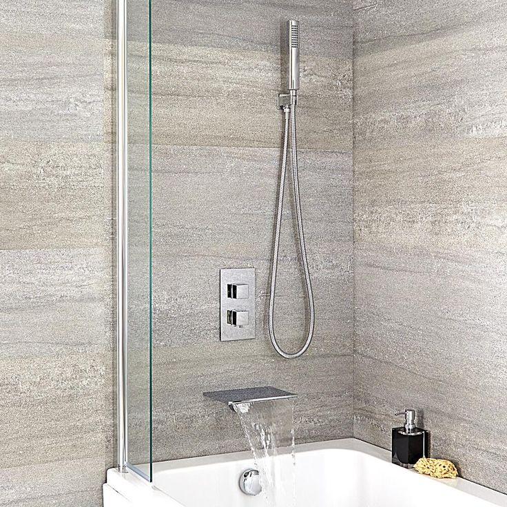 Badewannenarmatur mit Wasserfallauslauf und eckiger Handbrause - Arvo - Image 1