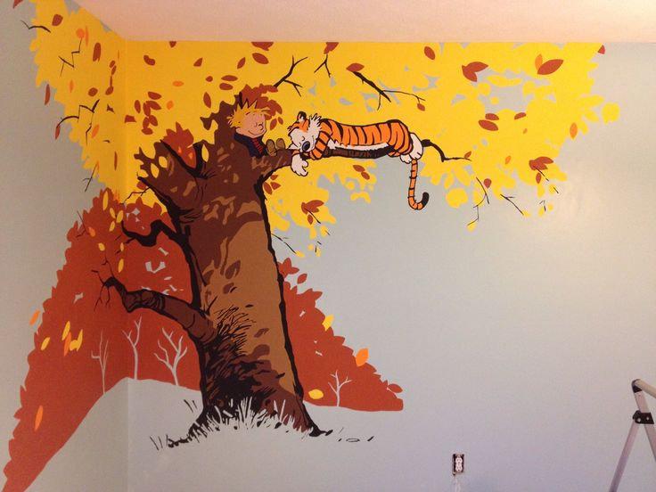 Our calvin and hobbes mural in the baby nursery baby for Calvin and hobbes nursery mural