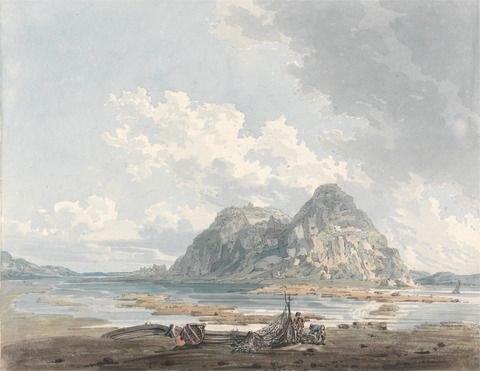 Thomas Girtin, 1775-1802, British Title	 Dumbarton Rock and Castle Date	 ca. 1793 Medium	 Watercolor with pen and black ink and scraping over graphite on medium, slightly textured, cream wove paper, pasted on thick, slightly textured, beige wove paper