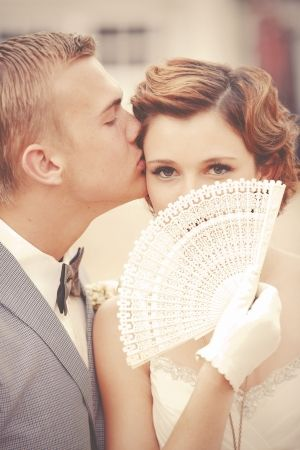 love this shot of the bride and groom by GideonPhoto.com: 1920S Engagement Photos, Ideas, Wedding Photography, Vintage Wedding, Fans, Bride, Photo Idea