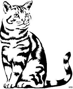 Das gestreifte Katze 2 Ausmalbild aus der Kategorie Tiere bringt viel Spaß — drucken Sie die Window Color Vorlage gestreifte Katze 2 einfach aus!