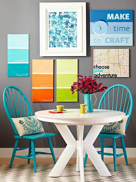 hoose three shades of the same acrylic paint color. Tape off canvas into thirds. Paint lightest shade on top third of canvas, medium shade on middle third, and darkest shade on bottom. Remove tape. Let dry. Add fun color names with white paint. -Love this idea for the playroom, make the color names be related to each kids name or interests.
