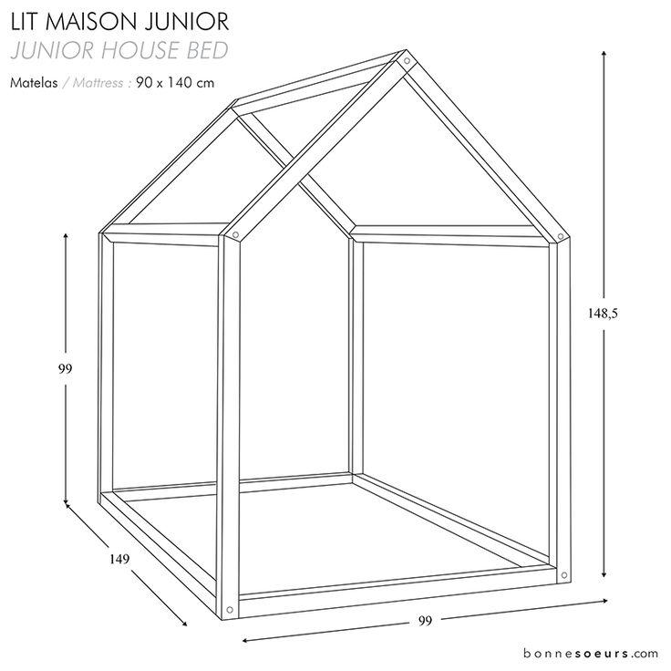 bonnesoeurs design lit maison dimensions taille junior chambre enfant pinterest chambre. Black Bedroom Furniture Sets. Home Design Ideas