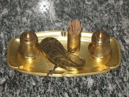 Винтажная посуда. Ярмарка Мастеров - ручная работа. Купить винтажный латунный набор для специй и штопор. Handmade. Золотой, винтажный набор