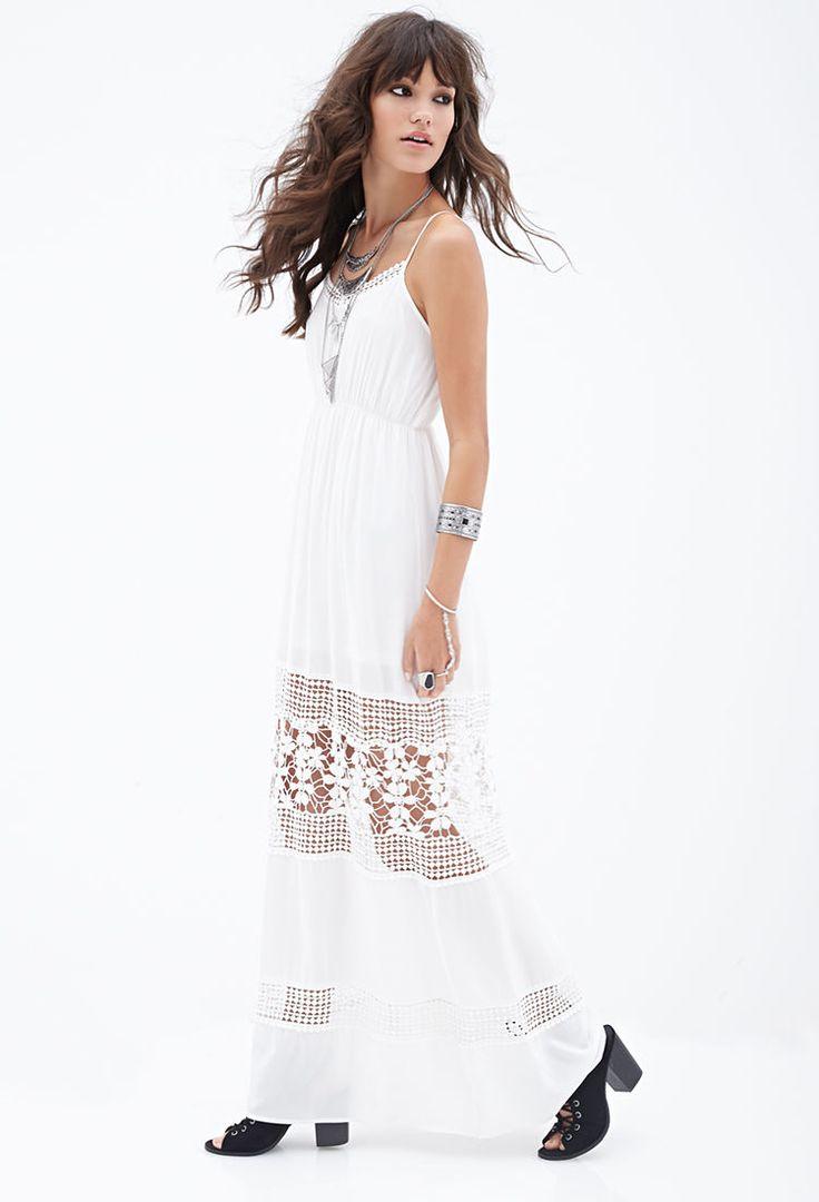 Crochet Maxi Dress : Crochet-Paneled Maxi Dress #F21StatementPiece