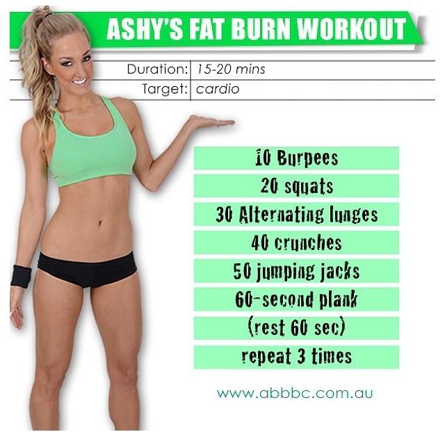 Ashy's Fat Burn Workout 15-20 minutes cardio   www.abbbc.com.au