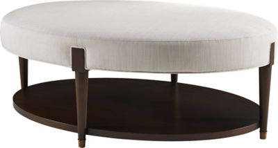A timeless form that slips into any room for support. The turned, tapered legs join the upholstered oval top at rectangular capitals. https://www.bakerfurniture.com/living/seating/ottomans/ondine-oval-cocktail-bench-3690