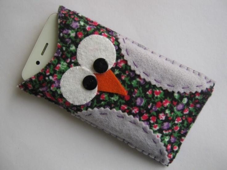 Artesanato em feltro Porta celular de coruja!!! Case Porta Carregador celular Pinterest