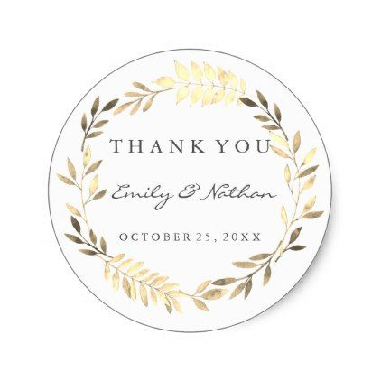 Modern Golden Leaf Wreath Thank You Sticker - wedding thank you gifts cards stamps postcards marriage thankyou