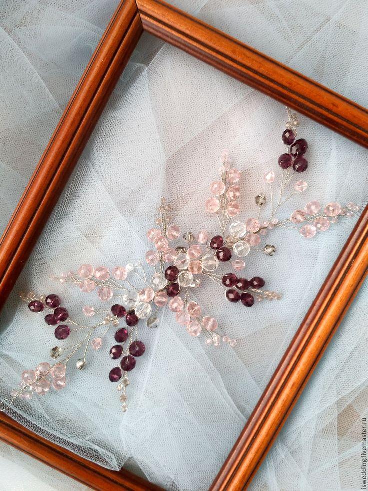 Купить Свадебное украшение для волос Осенние нотки - бледно-розовый, украшение для волос, украшение в прическу