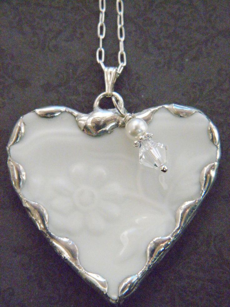 White Embossed Broken China Necklace  www.esty.com/Shop/Robinsnestcreation2