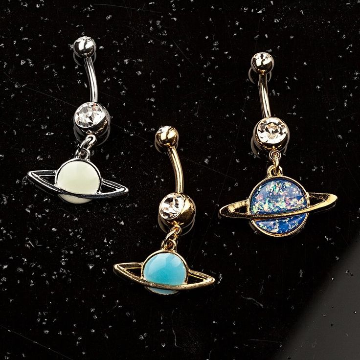 Synthetic Opal Cubic Zirconia Saturn Ring Planet Gold-Tone Anodized Steel Dangle Belly Ring  #bellyring #navelring #bodypiercing #freshtrends