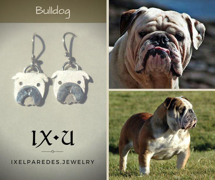 Bulldog Inglés Aretes en Plata .950 Precio: $150 MXN