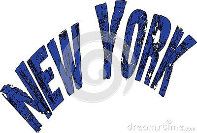 New York text sign on white Background