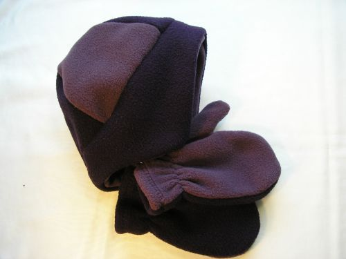 Aubergine Fleece Earflaps Hat Mitts Child 18-36mths from Jacaranda  £7.99