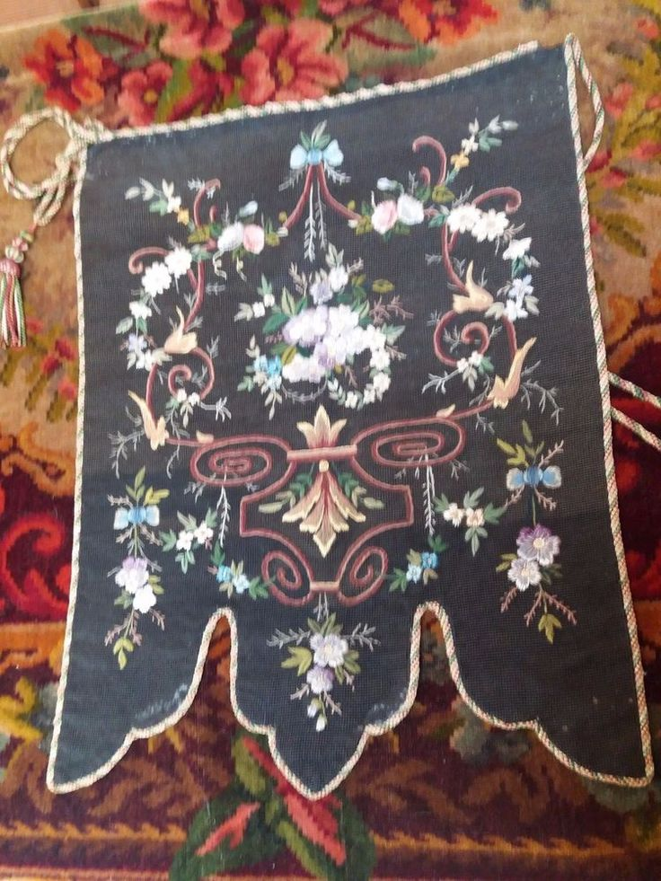 ANTIQUE GEORGIAN HAND EMBROIDERY TAPESTRY NEEDLEPOINT WOOLWORK BANNER VINTAGE