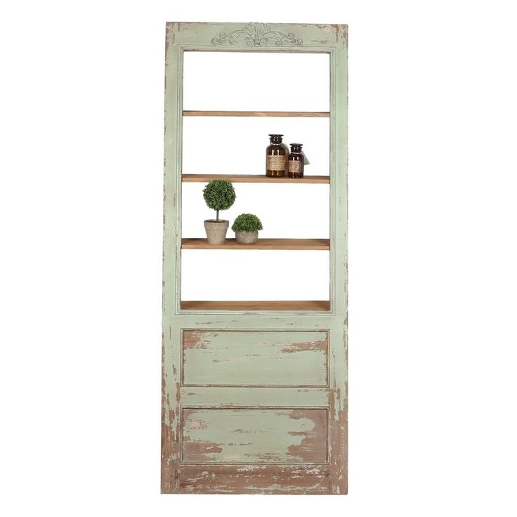Shabby Chic Leaning Door Wall Bookcase Bookshelf 4 Shelves Contemporary,77''H #LeaningDoor #Contemporary