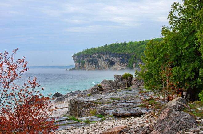 What a spectacular Georgian Bay coastline once the fog lifts - Bruce Peninsula National Park