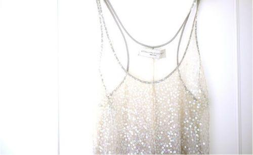 sheer & sequined & racer back. <3: Clothing Altered, Sheer Sequins, Fashion Crafts, Stella Mccartney, Diy Fashion, White Lights, Tanks Tops, Sparkle, Sequins Tops