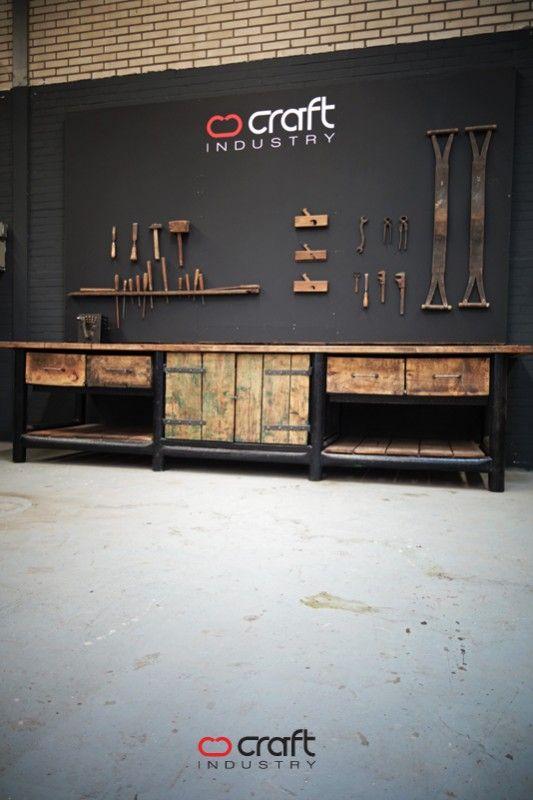 Authentieke industriële werkbank - Craft-Industry