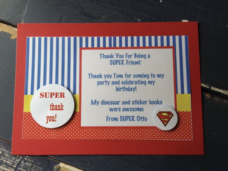 Handmade Superman Party Thank You Card