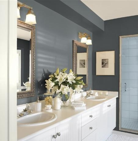 bathroom grey color schemes guest bathroom paint colors gunmetal walls cloud white 15989