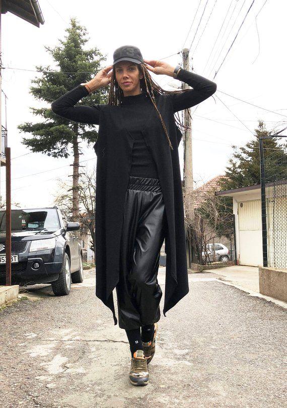 a912c16b253fac Asymmetric Black Viscose Vest, Women Vest, Elegant Vest, Sleeveless Maxi  Top, Loose Vest, Trench Vest, Extravagant Vest by SSDfashion | Tunic, Top &  Shirt ...